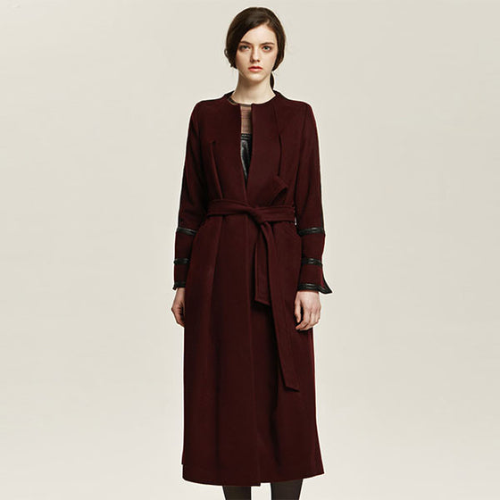 [Cahiers] Leather Chain Wrap Maxi Coat