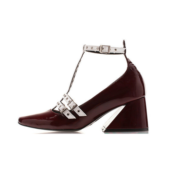[YUUL YIE] Y HEEL EYELET DUBLE STRAP PUMPS - Wine