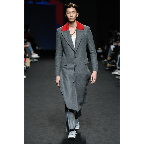 [Kwakhyunjoo Collection]16 F/W RED COLLAR GRAY LONG COAT