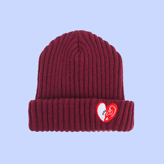 [bpb] MIX LUV BEANIE (BURGUNDY)