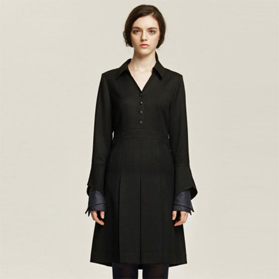 [Cahiers] Mandarin Collar Pleated Dress