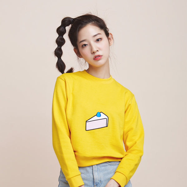 [bpb] cake embroidery sweat shirt - yellow