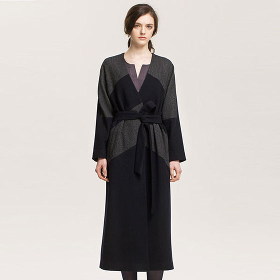 [Cahiers] Pattern Block Japanese Wrap Maxi Coat