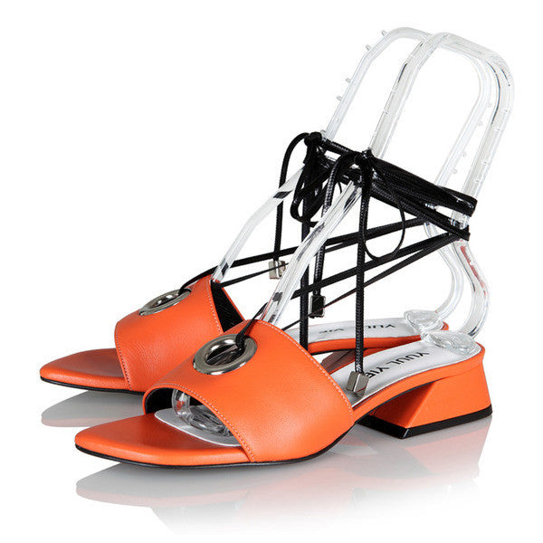 [YUUL YIE] BREEZE EYELET SLIDE - Orange