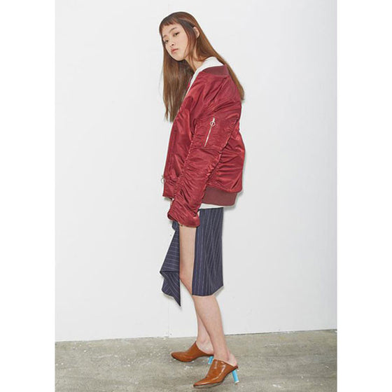 [2nd SWBD] Shirring Ma1 Bomber Jacket - Burgundy