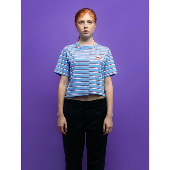 [CHARM'S] FLAME PATCH STRIPE CROP T BLUE