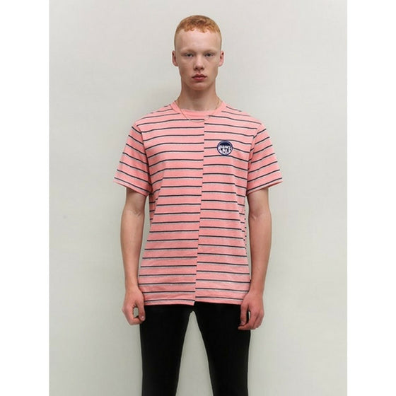 [CHARM'S] FLAME PATCH STRIPE T-SHIRT PINK