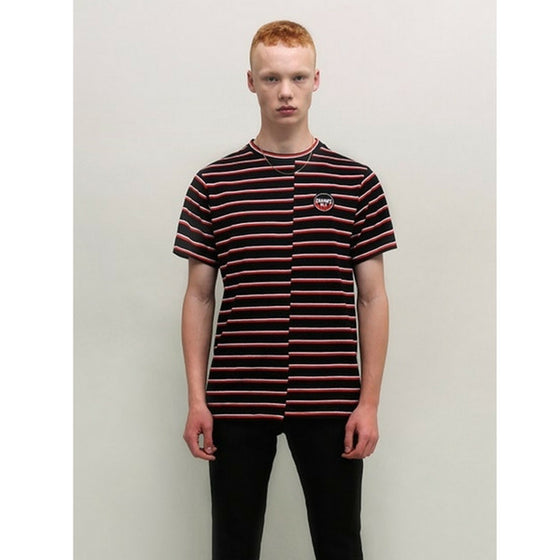 [CHARM'S] FLAME PATCH STRIPE T-SHIRT BLACK