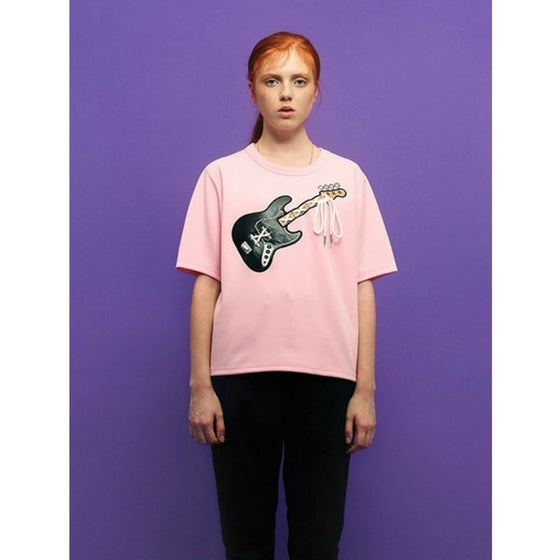 [CHARM'S] LEATHER BASS T-SHIRT PINK