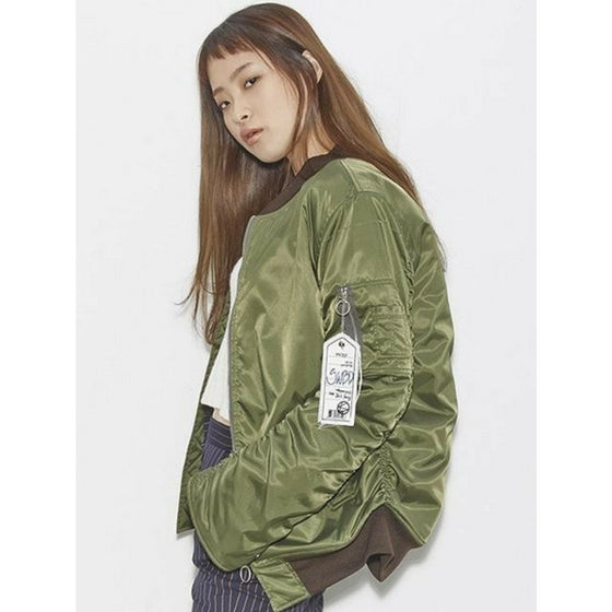 [2nd SWBD] Shirring Ma1 Bomber Jacket - Khaki