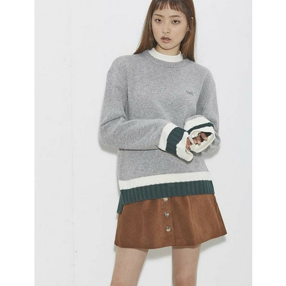 [2nd SWBD] Color Rib Sleeves Knit - GRAY