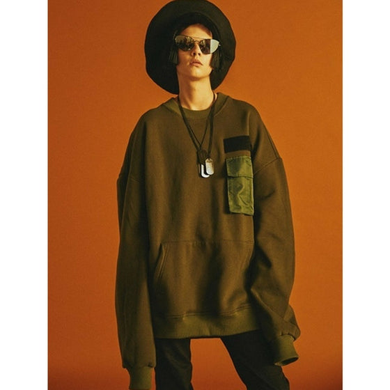 [CHARM'S] Pocket Sweatshirts KHAKI