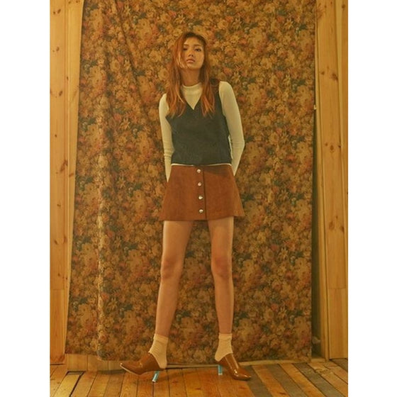 [2nd SWBD] Button A-line Skirt - BROWN