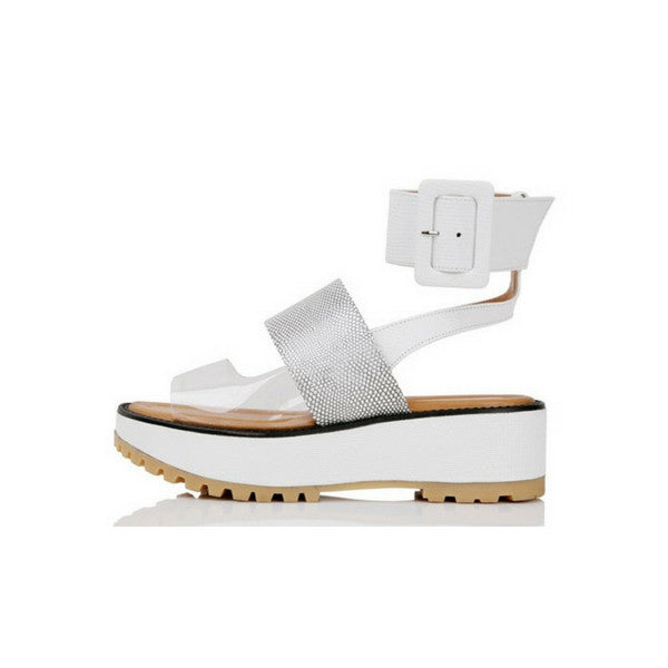 [YUUL YIE] 3 TYPE OF STRAP WEDGE SANDAL - White