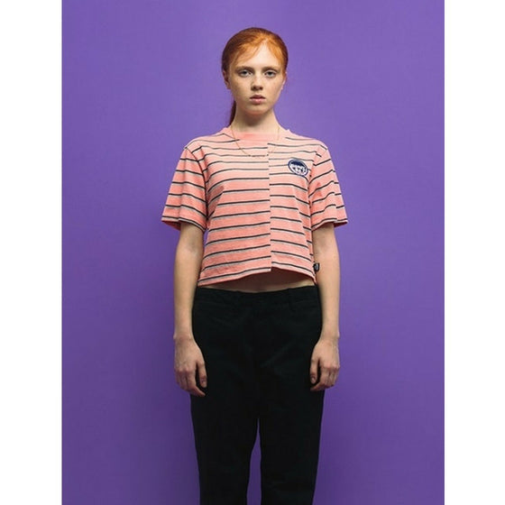 [CHARM'S] FLAME PATCH STRIPE CROP T PINK
