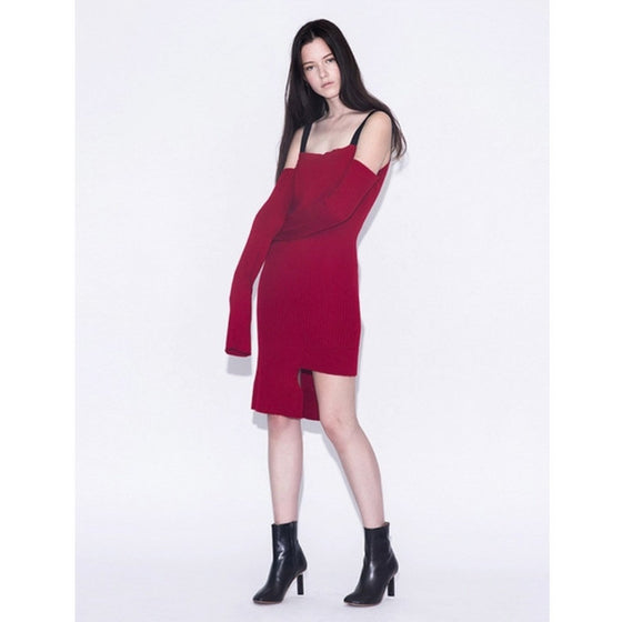 [Hacer]String Off Shoulder Knit Dress