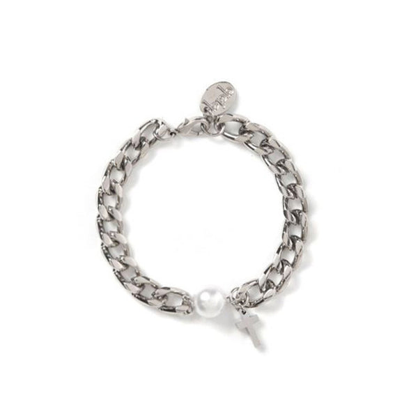 [bpb] chain pearl cross bracelet