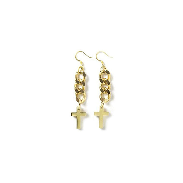 [bpb] gold chain cross earring
