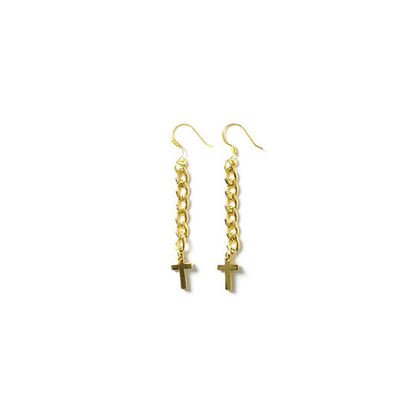 [bpb] gold chain cross long earring