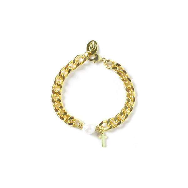 [bpb] gold chain bold cross bracelet