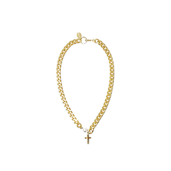 [bpb] gold chain cross necklace