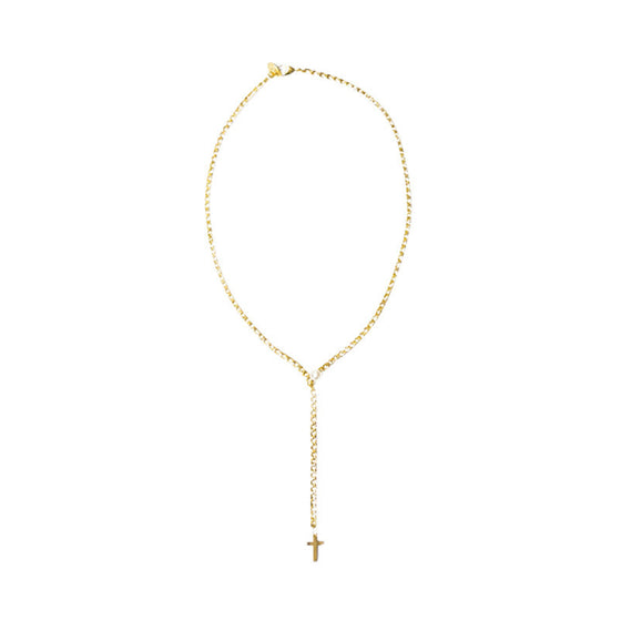 [bpb] gold chain cross long necklace