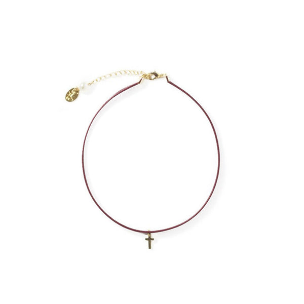 [bpb] burgundy cross choker