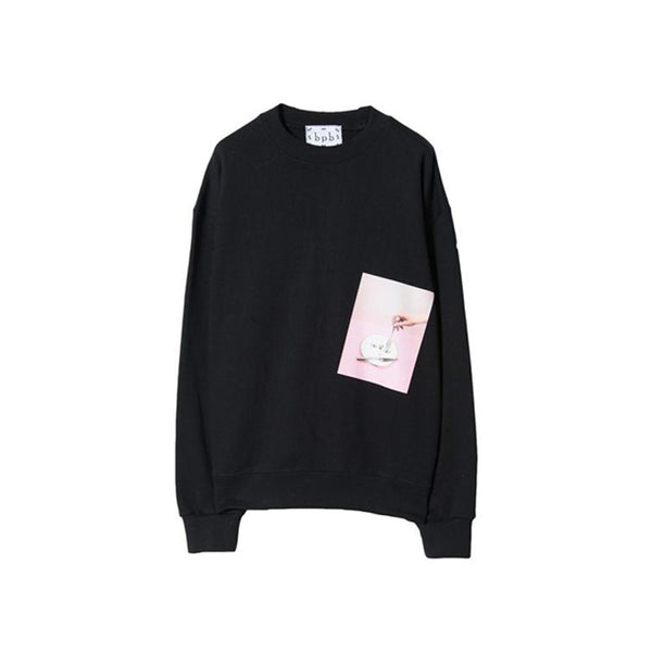 [bpb] PLATE PRINT SWEAT SHIRT (BLACK)