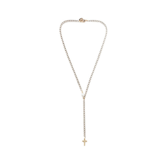 [bpb] gold point chain cross long necklace