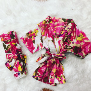 Floral Robe - White Hot Pink