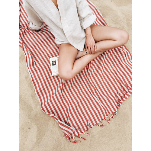 Handwoven Beach Towel - Striped Red
