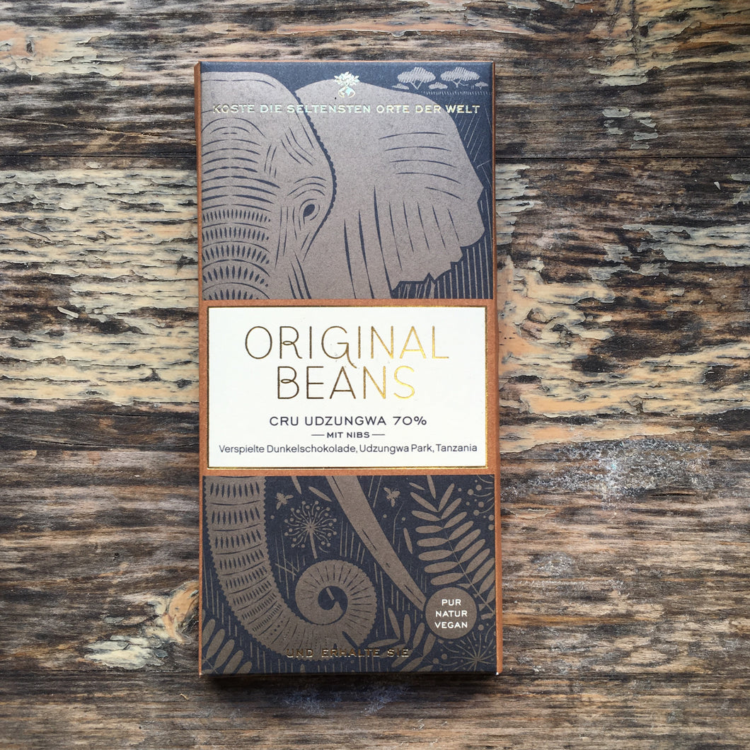 Cru Udzungwa 70% with Nibs - Vegan Bean to Bar Chocolate Original Beans - La Flora Sagrada