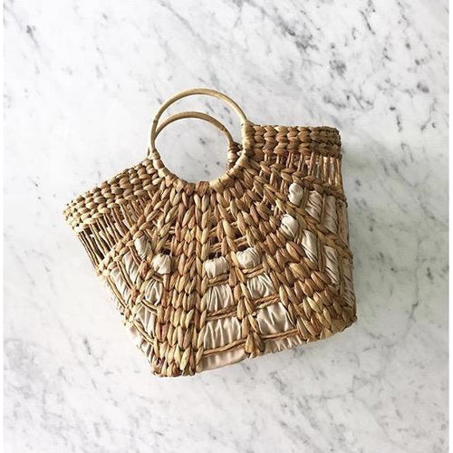 Rattan Basket with Leather weave