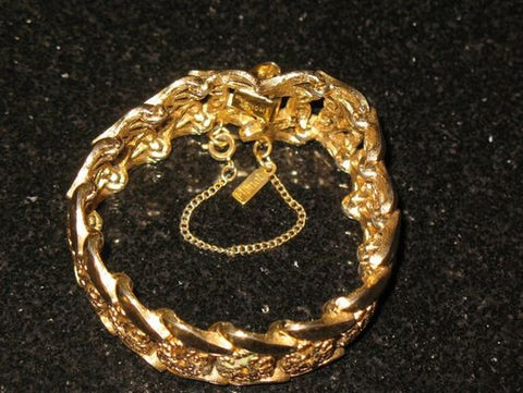 Monet Wide Link Gold Bracelet with Security Chain