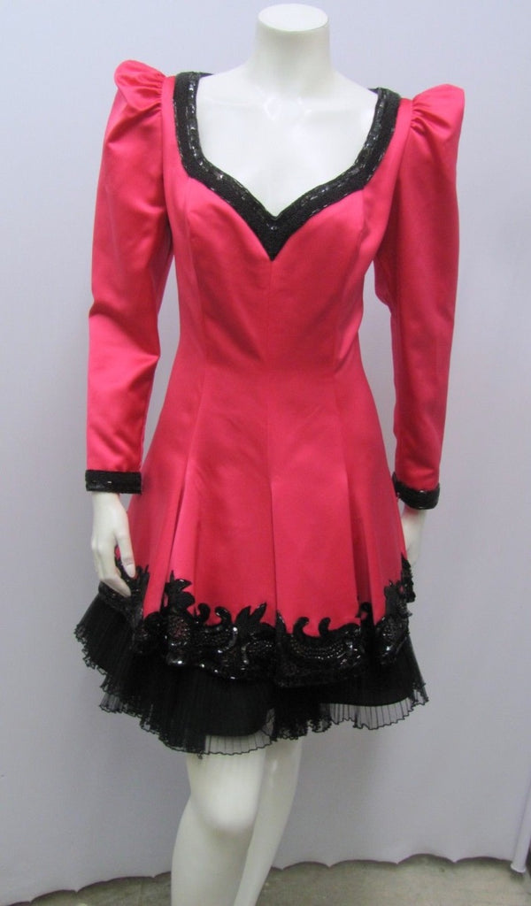 Fabrice Silhouette, Vintage, Hot Pink Dress with Black Trim and Beading