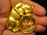 Vintage JJ Jonette Signedatte Gold Plated Cat  Fish Bowl Clear Lucite Jelly Belly