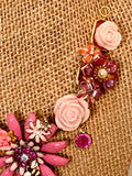 Pink Flower Garden Statement Necklace- Vintage One Of A Kind