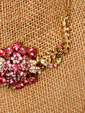 Pink and Multicolored Rhinestone Vintage Upcycled Statement Necklace
