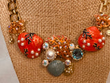 MONET SIGNED UNDER THE SEA STARFISH CORAL SHELL ENAMEL and  PEARL NECKLACE