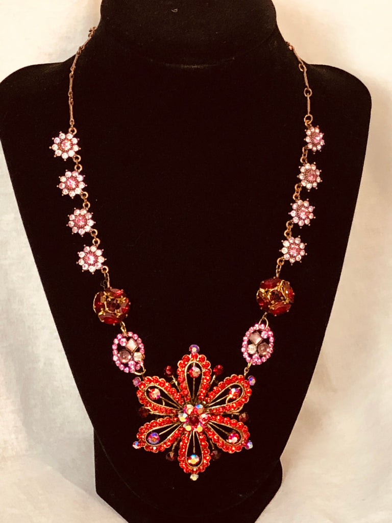 Rare Red Vintage Rhinestone Necklace- Hand Made - One Of A Kind