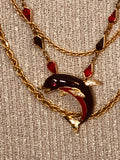Dolphin Multi Chain Pendant Necklace-Repurposed Vintage Jewelry