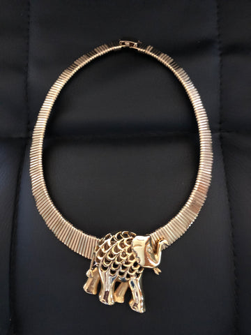 Elephant slide choker- Vintage Necklace