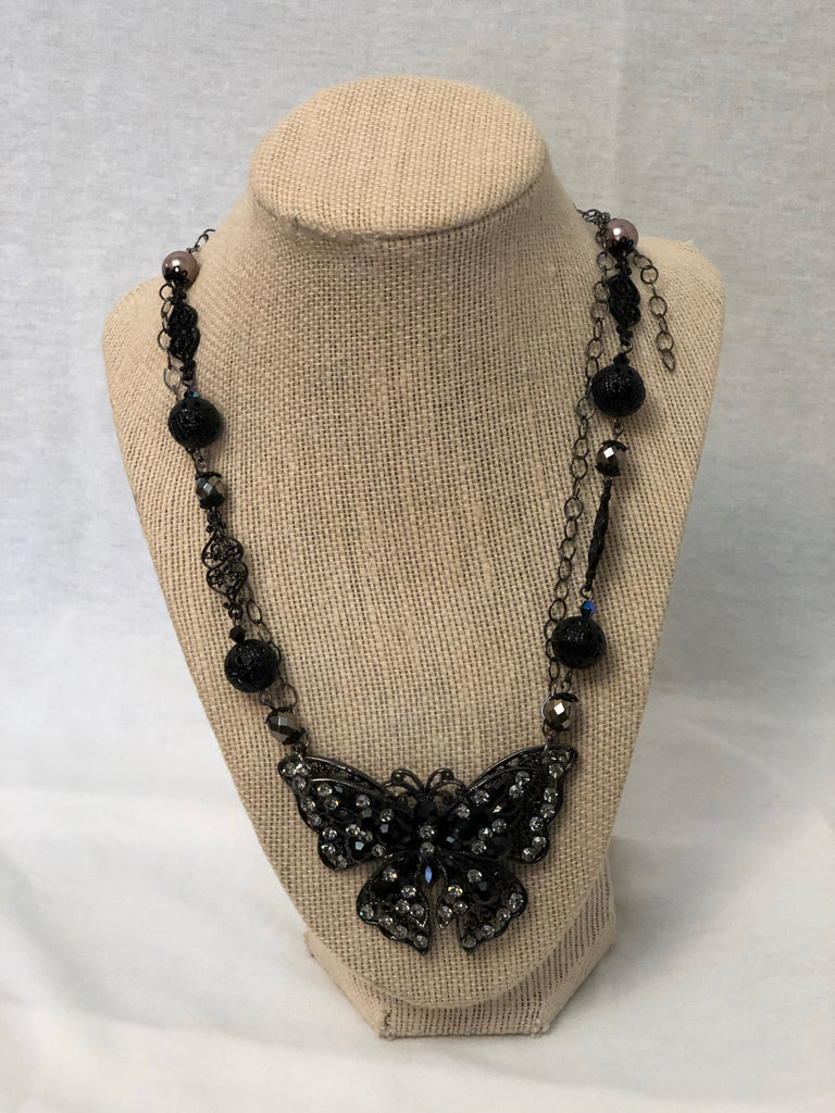 Black Crystal Butterfly Necklace