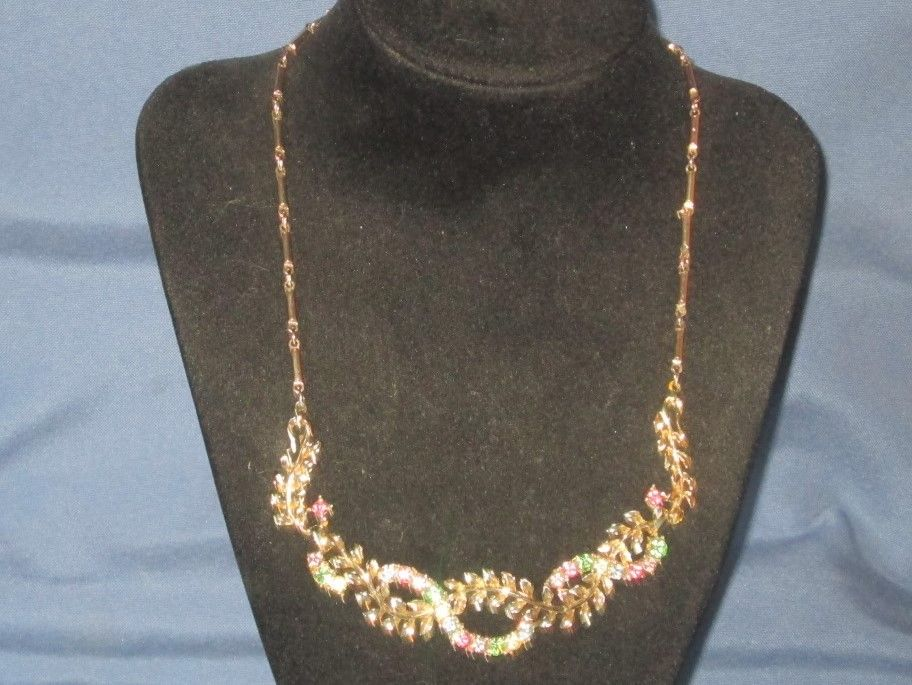 Vintage Signed CORO Gold-Tone Metal Multicolor Pastel Rhinestone Necklace