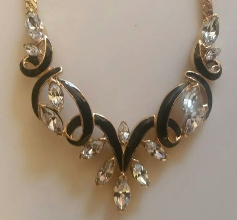 Trifari Marquis Rhinestone & Black Enamel Necklace and Earrings