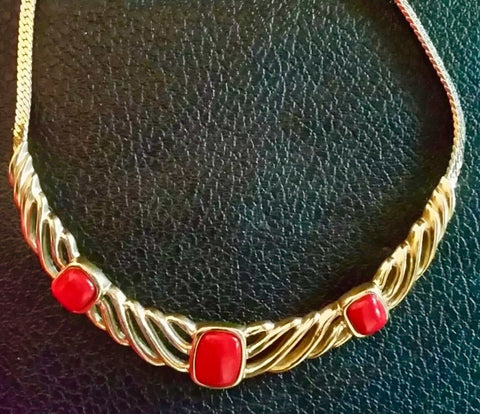 Trifari Gold Plated Red Lucite Cabochon Enamel Collar Necklace-Vintage Necklace