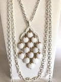 Vintage Crown Trifari White Enamel Waterfall Three Strand Necklace-Vintage Necklace