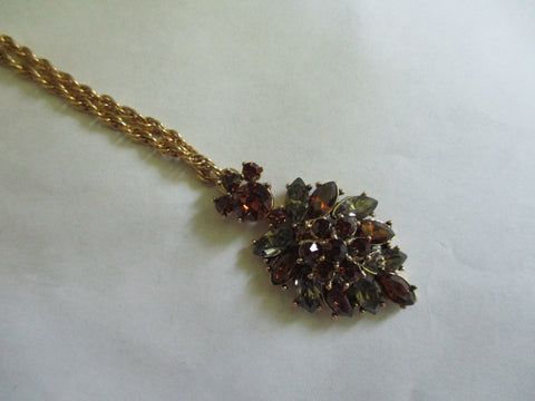 Crown-Trifari-Amber-Smokey-Glass-Pendant-Vintage Necklace-1960s-Signed