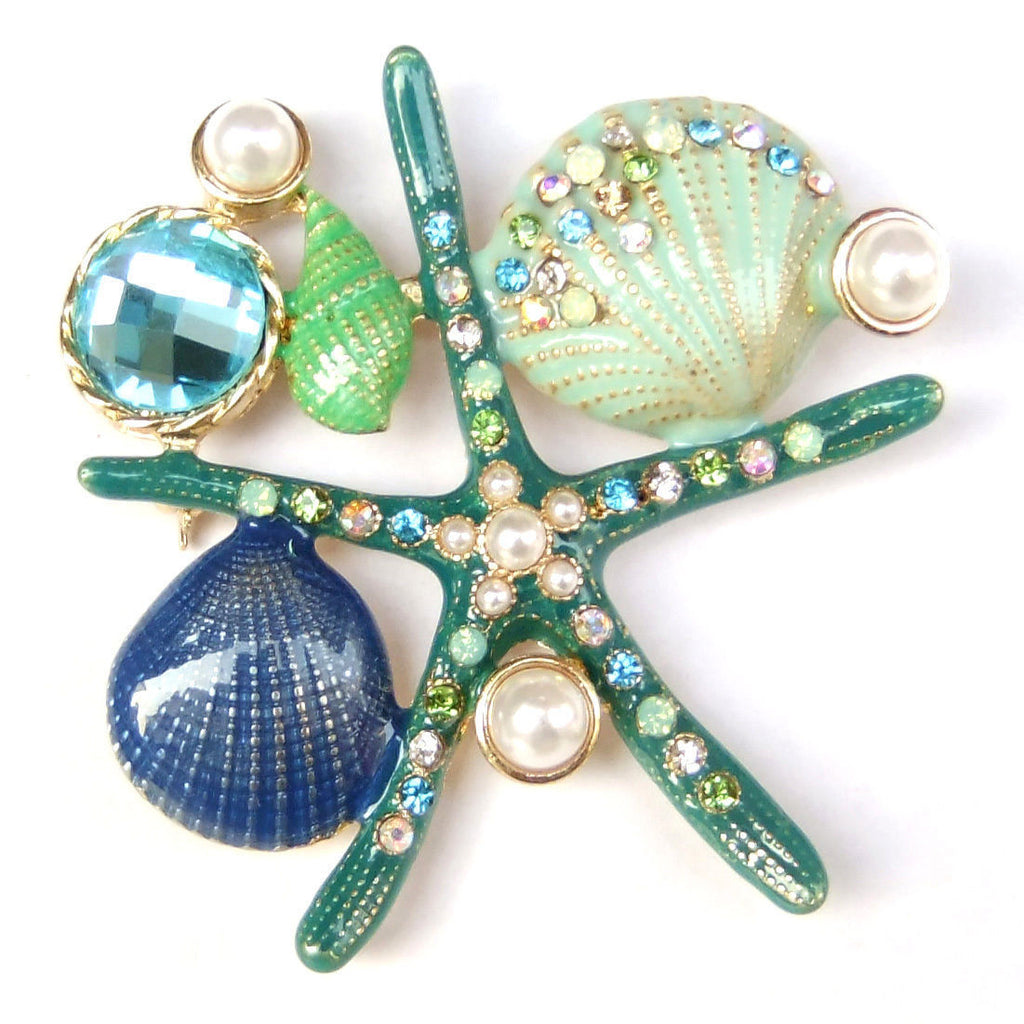 VINTAGE MONET SIGNED UNDER THE SEA STARFISH AQUA CORAL SHELL ENAMEL PEARL BROOCH