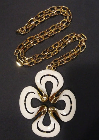 Vintage Crown Trifari White Enamel Pendant Goldtone Necklace